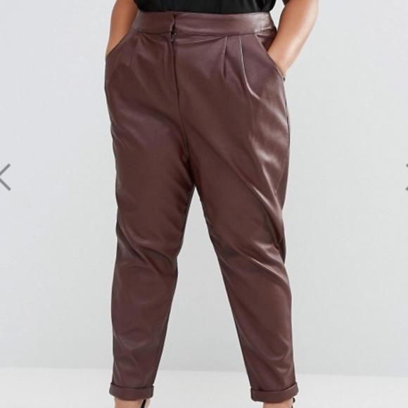d115162cfe4a ASOS CURVE Leather Look Peg Pants. M_5bde8942df0307a8800ef95b